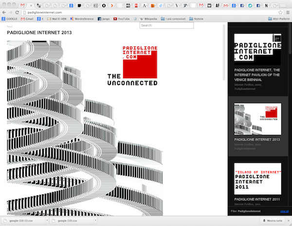 Screenshot: the website of Internet Pavilion by Miltos Manetas. www.padiglioneinternet.com