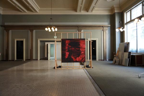 Kon Trubkovich Red Square,2013 Oil on canvas,wood,sandbags,2013 Courtesy LAND