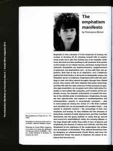 The Emphatism Manifesto by Francesca Alinovi