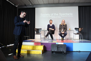 Nicolaus Schafhausen (Kunsthalle Wien) introduces Olaf Nicolai (artist) and Tom McDonough (Comparative Literature, Binghamton University) , photo Davide Bevilacqua