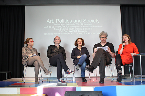 Curatorial Ethics, Defne Ayas (Witte de With, Rotterdam), Bart de Baere (MUHKA, Antwerp / 6th Moscow Biennale), Fulvia Erdemci (13th Istanbul Biennale) and Nikolaus Hirsch (architect and curator, Frankfurt am Main), photo Davide Bevilacqua