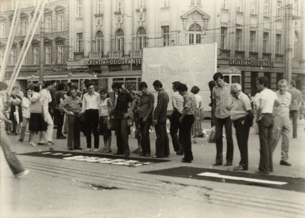 Group of Six Authors Exhibition action on the Republic Square Zagreb 17 19.7.1978 1978 bw photograph 104 x 147 mm Marinko-Sudac Collection.