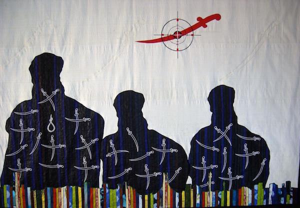 Abdoulaye Konaté, Non à la Charia au Sahel, 2013 Textile, cm h 230x350, Collezione privata – Bologna, Italia