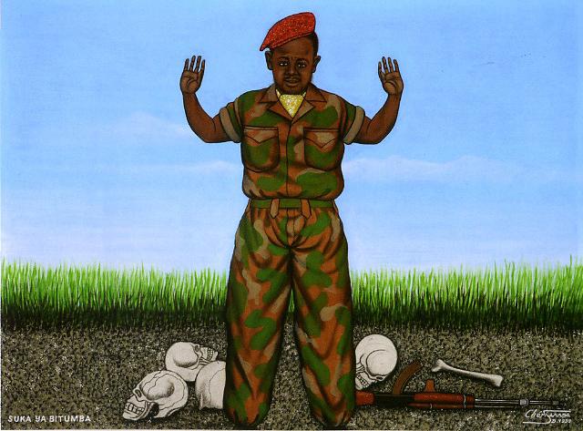 éri Samba, L'ultima battaglia, 1999 Acrilico su tela, cm 81x110, Collezione privata