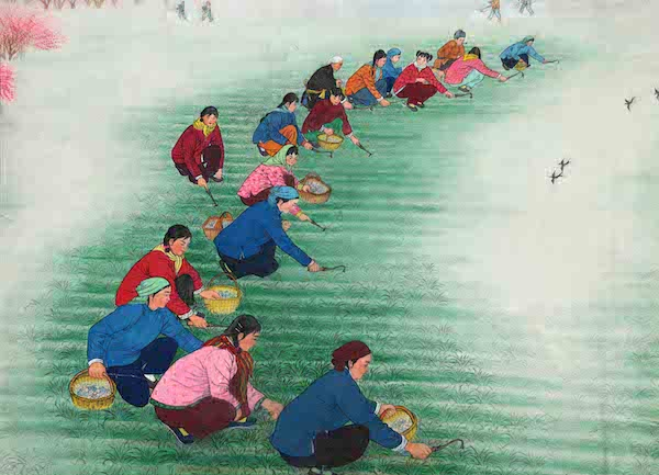Li Fenglan, Spring Hoeing, 1973, courtesy of museum of Huxian Painting, Yinchuan Biennale