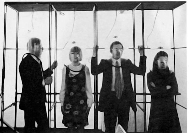Yann Chateigné Tytelman, Ugo La Pietra, Audio Casco (1967), metal structure,methacrylate helmet, a sliding rail and a loudspeaker that transmits a soundtrack using a tape recorder, Courtesy of Studio Dabbeni, Lugano Gallery Studio Dabbeni.