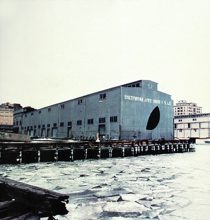 Whitney Museum, Gordon Matta-Clark, Day's End (Pier 52) (Exterior with Ice), 1975. Color photograph, 1029 x 794 mm.  © Estate of Gordon Matta-Clark, Artists Rights Society (ARS), N.Y.