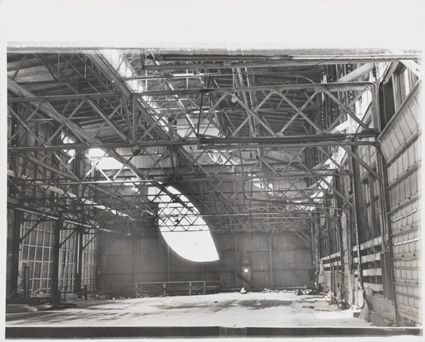 """Whitney Museum, Jeff Cowen, MeatPacking District, Gordon Matta-Clark, Days End Pier 52.3 (Documentation of the action """"Day's End"""" made in 1975 in New York, United States), 1975, printed 1977. Gelatin silver print."""