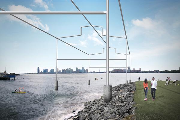 Whitney Museum, Jeff Cowen, MeatPacking District, Gordon Matta-Clark, Day's End, 2020, by David Hammons, looking west from Gansevoort Peninsula